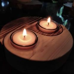 Bougeoir YIN YANG en bois