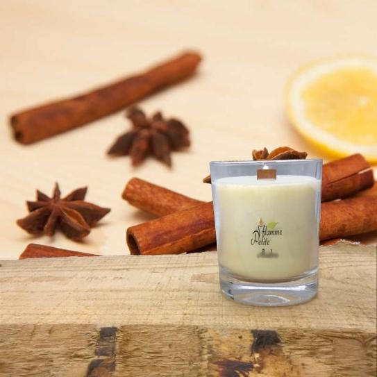 Bougie Mèche Bois Parfumée Cannelle