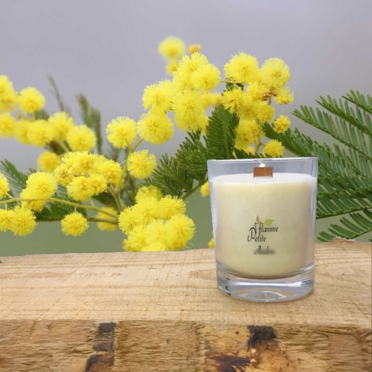 Bougie Mèche Bois Parfumée Mimosa