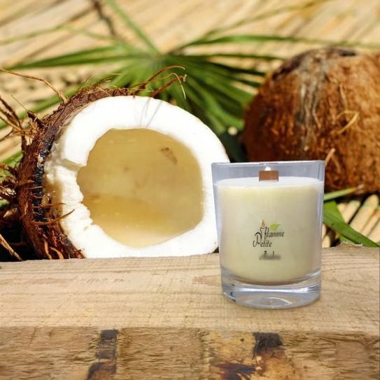 Bougie Mèche Bois Parfumée Noix de coco