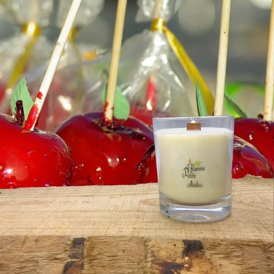 Bougie Mèche Bois Parfumée Pomme d'amour