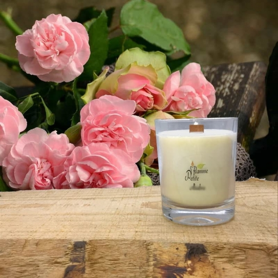Bougie Mèche Bois Parfumée rose