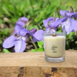 Bougie Mèche Bois Parfumée Violette
